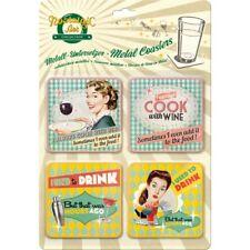 METALL UNTERSETZER / METAL COASTERS (4teilig) 46018 - SAY IT 50´S DRINK & WINE