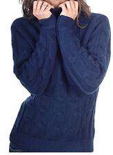 Balldiri 100% Cashmere Damen Pullover Rollkragen Zopfmuster 12 fädig nachtblau L