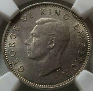 NEW ZEALAND 6 pence Sixpence 1944 NGC MS 63 UNC