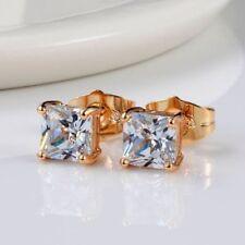 18k Yellow Gold Filled Earrings ear stud 6mm square CZ Wedding Fashion Jewelry