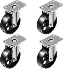 4 All Steel Swivel Plate Caster Wheels Heavy Duty High Gauge Steel 4 No Brake