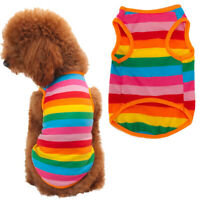 Cute Rainbow Stripe Puppy Pet Shirt Vest Dog Cat Apparel Costume Summer Clothes