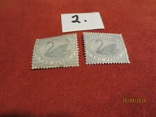 No-1-1885 Western Aust; Two Pence Grey-Pairs-Used -