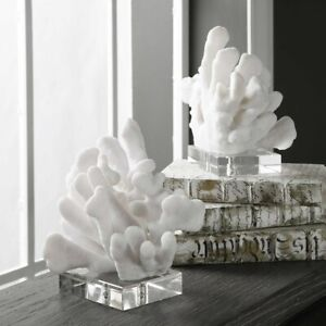 MODERN ART COASTAL BEACH SCULPTED FAUX CORAL BOOKENDS UTTERMOST CRYSTAL BASE