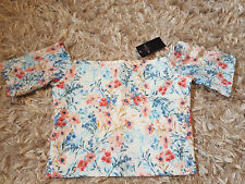 New Women's HOLLISTER Off-The-Shoulder Lace Crop Top Size M Multi Floral RRP £19