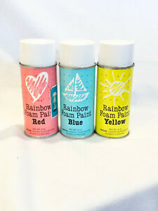 3 RAINBOW FOAM PAINT CANS - RED, YELLOW, BLUE - BRAND NEW