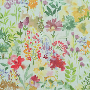 Multi Floral Green, Purple, Red Watercolour Oilcloth Wipe Clean Tablecloth Cover