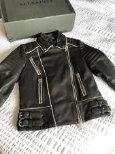 All Saints Gorgeous Piped Biker Black Brown Leather Jacket Size 6 worn once