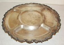 Large Antique Silver on Copper Lazy Susan Footed Serving Platter Scroll Edge