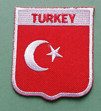NATIONAL FLAG COUNTRY SHIELD SEW ON / IRON ON EMBROIDERED PATCH:- TURKEY