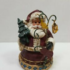 Santa Holding Lantern And Christmas Tree Decoration Holiday Season 3.5 Inches
