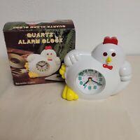 Vintage Quartz Alarm Clock The Chicken Open Box Tested China Sunshine READ