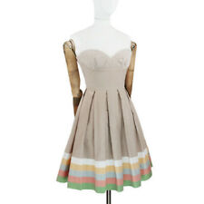 Jonathan Saunders Runway Collection Beige Bianco A Pieghe Abito in pizzo di griglia FR36 UK8