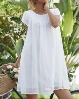 Damen Sommer Kleid Hängerchen Tunika unterlegt 42 44 Weiß R481 NEU