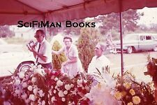 KODACOLOR 35mm Slide Funeral Cemetery Flowers Old Cars Men Woman Fashion 1962!!!