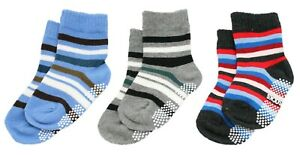 Kid Boy Blue Black Grey Striped 3-Pack Non-slip Grip Ankle Socks Age 1 2 3 4 5
