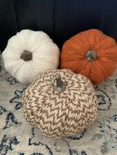 "Set Of Three (3) Cable Knit Foam Harvest Pumpkins Farmhouse Fall Decor 7"" Wide"