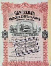 SPAIN 25A BARCELONA TRACTION LIGHT AND POWER CO.for 1 Share of $100 in Gold 1913