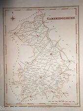 Antiquarian Hand Coloured Map of Cambridgeshire - c1840, Cambridge, Ely, St Ives