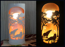 Crafted Wolf in African Sunset Scene PVC Kids Sleeping Lamps