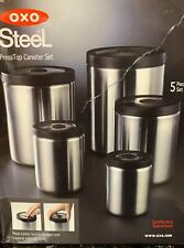 NEW With Box~OXO RARE STAINLESS STEEL CANISTER SET