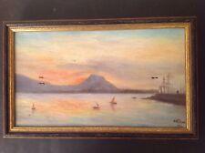 Tableau ancien Marine Golf de Saint Raphaël Bateaux Huile sur Toile signée c1914
