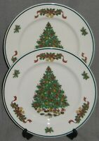 Set (2) Johnson Brothers VICTORIAN CHRISTMAS PATTERN Dinner Plates ENGLAND