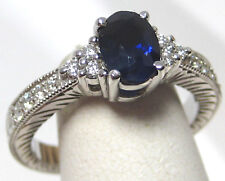 Blue Sapphire Ring 18K white gold Heirloom Antique Style Certified Heirloom $3,9