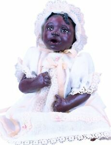 ABC KayKay Afro African American Brown Black Dark New Resin Baby Girl Doll