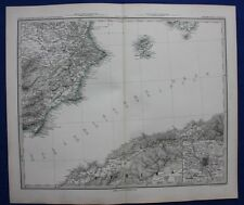 SUD-EST della Spagna, IBIZA, Nord Africa, Madrid Originale Antico Mappa, steiler 1880