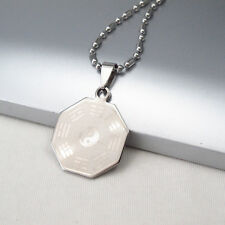 """Silver Octagon Tai Chi Ba Gua Symbol Pendant 24"""" 61cm Mens Chain Ethnic Necklace"""