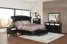 4 PC BLING BLACK METALLIC VELVET TUFTED KING BED BEDROOM FURNITURE SET