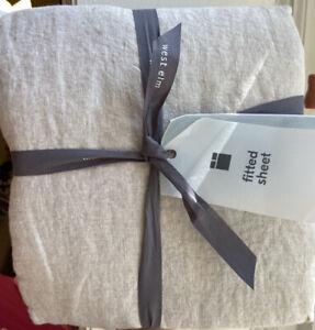 west elm belgian flax linen fitted sheet queen new Bedding
