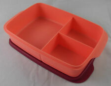 Tupperware Clevere Pause rechteckig 1 l Lachs Weinrot Lunchbox Box Dose Neu OVP