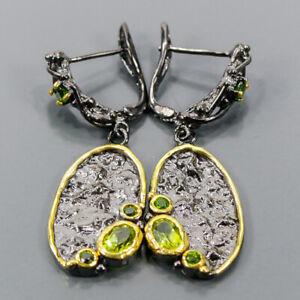 Vintage Peridot Earrings Silver 925 Sterling   /E57871