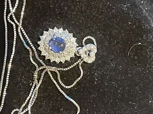 Sapphire And Diamonds Necklace In Platinum