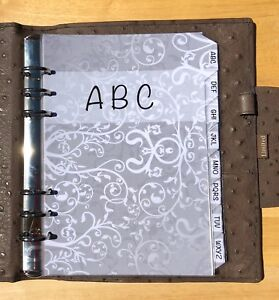 Filofax A5 Organiser Planner - Silver Design Contacts ABC Dividers - Laminated