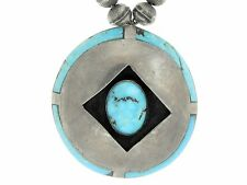"""Sterling Silver 8mm Round Bead 26"""" Necklace with LARGE Turquoise Inlay Pendant"""