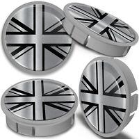 4 x 60mm Silver Black UK Union Jack Flag Rim Alloy Wheel Center Hub Centre Caps