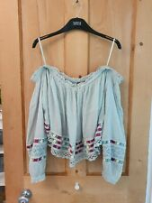 Free People Gypsy Blouse Top L 14 16 Off Shoulder Frill Lace Hippie Peasant Boho