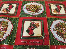 Red & Green Patchwork Christmas Stocking & Santa House 100% Cotton Craft Fabric