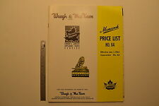 #J85 WAUGH & MACKEWN Monarch Pump Price List Book Catalog No. 64 - 1964