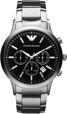 NEW Emporio Armani AR2434 Men's Classic Stainless Steel Black Chronograph Watch