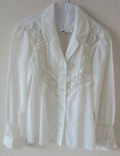 Vintage 70's cotton blend blouse with lace trim.  Size small