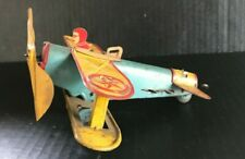 Very Rare Early 1930'S Louis Marx & Co. Wind-up Biplane Plane New York