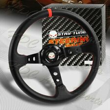 350Mm Deep Dish Drift Black / Red Leather 6 Hole Steering Wheel Universal (Fits: Lexus)