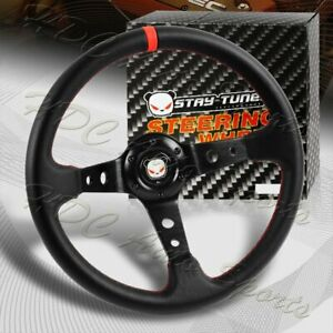 350MM Deep Dish Drift Black / Red Leather 6 Hole Steering Wheel Universal