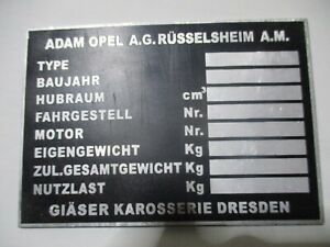 Nameplate opel Classic Car Shield Glasses Body Captain Admiral s64