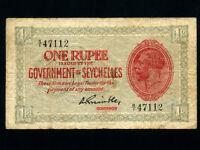 Seychelles:P-2f,1 Rupee,1936 * King George V * RARE * F *