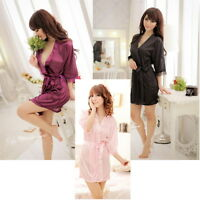 Sexy SILK and LACE dressing bath robe Babydoll lingerie + g-string 5 Colors
